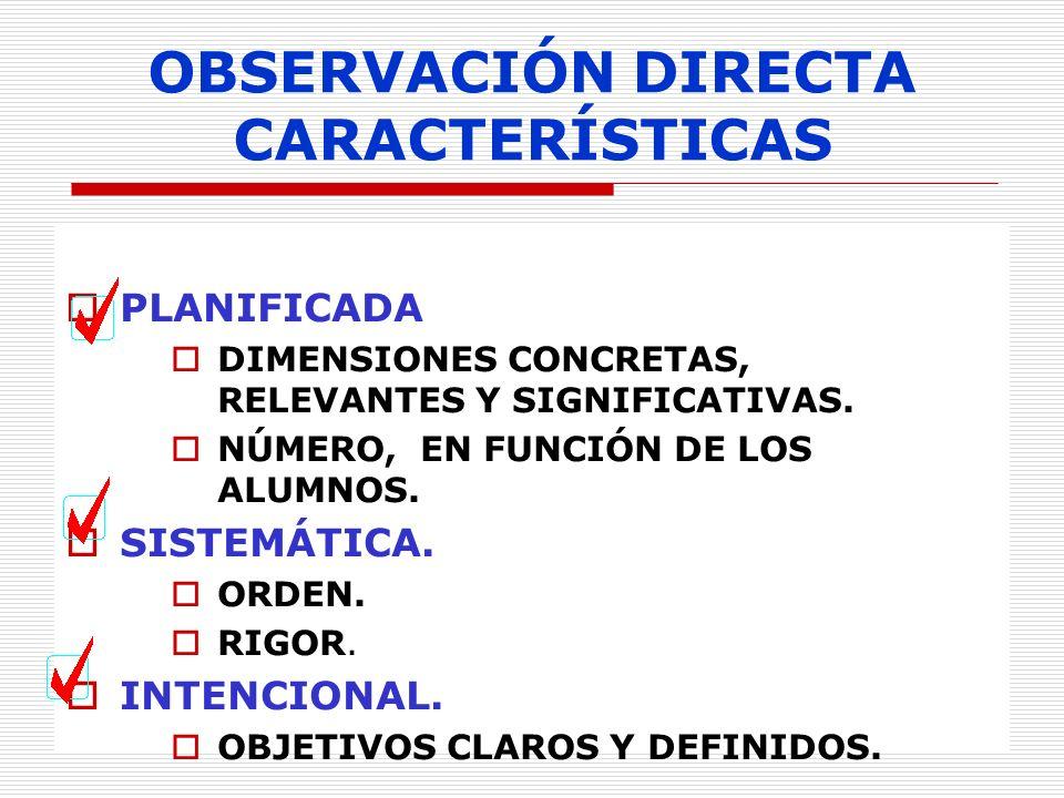 OBSERVACIÓN DIRECTA CARACTERÍSTICAS