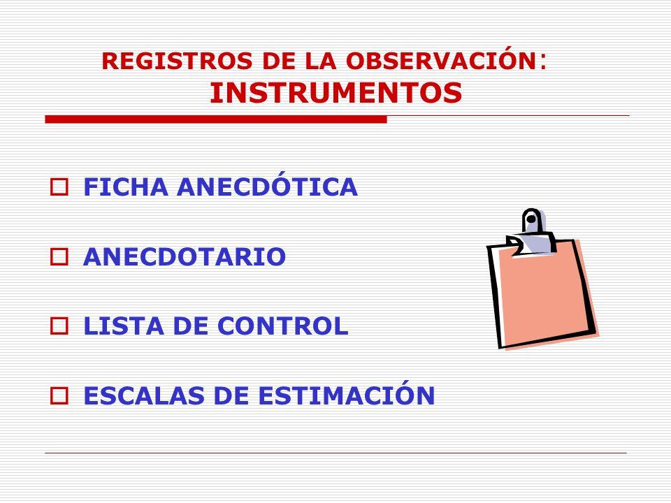 REGISTROS DE LA OBSERVACIÓN: INSTRUMENTOS