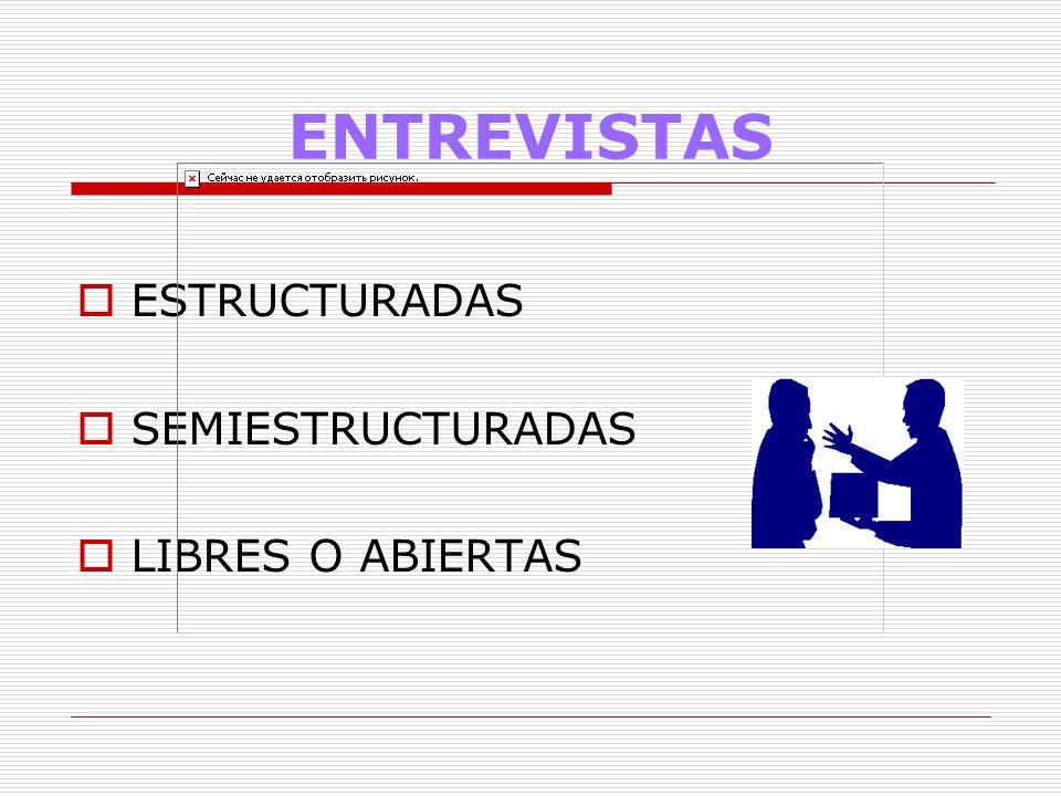 ENTREVISTAS ESTRUCTURADAS SEMIESTRUCTURADAS LIBRES O ABIERTAS 12