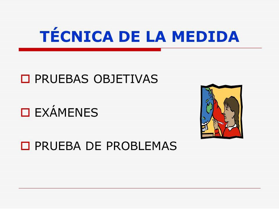 TÉCNICA DE LA MEDIDA PRUEBAS OBJETIVAS EXÁMENES PRUEBA DE PROBLEMAS 15