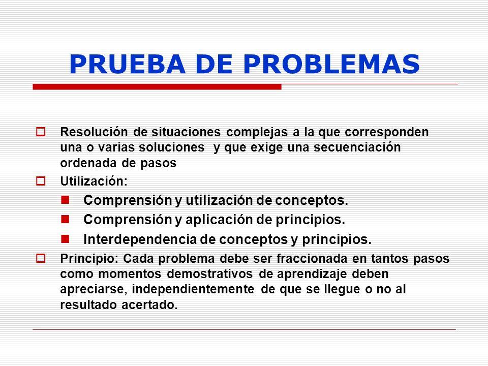 PRUEBA DE PROBLEMAS Comprensión y utilización de conceptos.