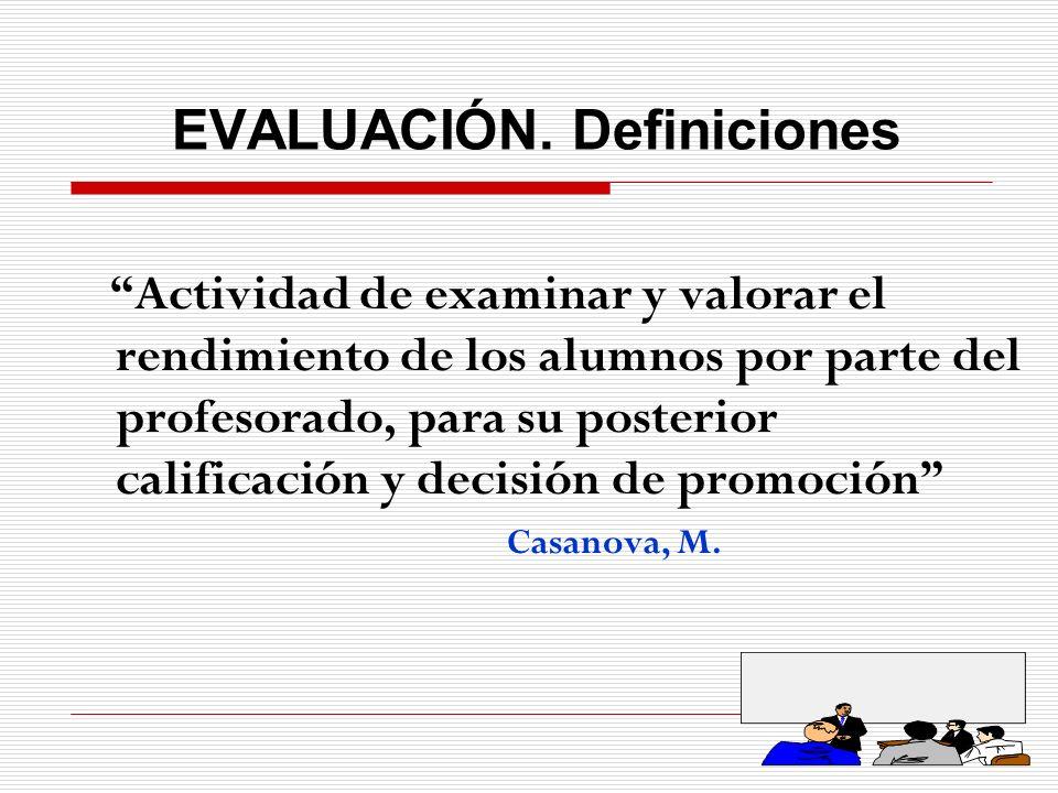 EVALUACIÓN. Definiciones