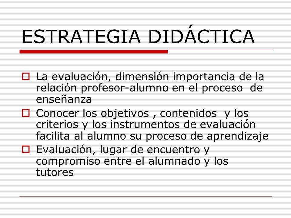 ESTRATEGIA DIDÁCTICA La evaluación, dimensión importancia de la relación profesor-alumno en el proceso de enseñanza.