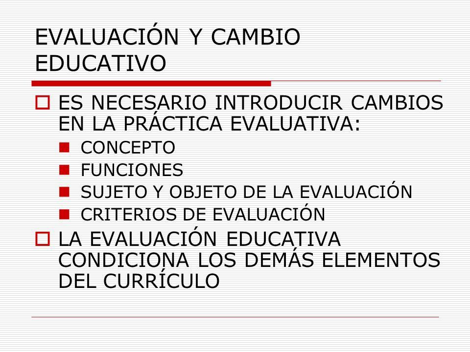 EVALUACIÓN Y CAMBIO EDUCATIVO