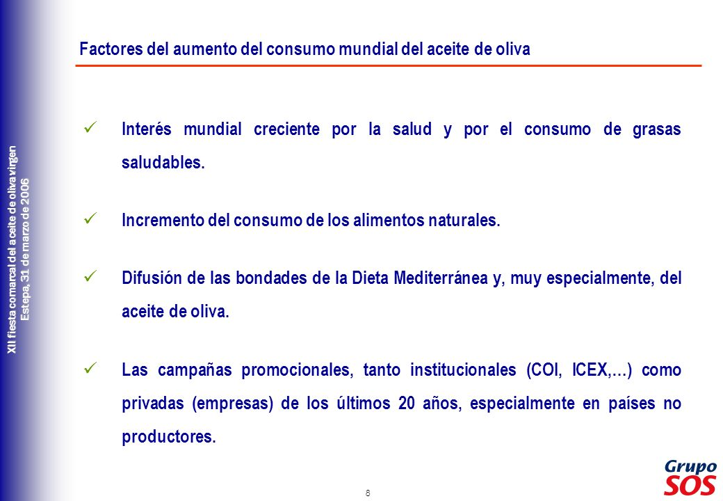 Factores del aumento del consumo mundial del aceite de oliva