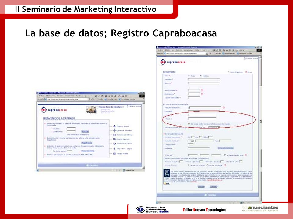 La base de datos; Registro Capraboacasa