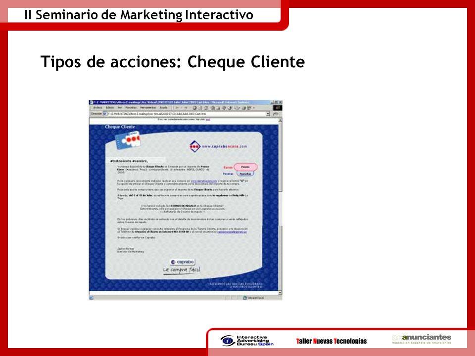 Tipos de acciones: Cheque Cliente