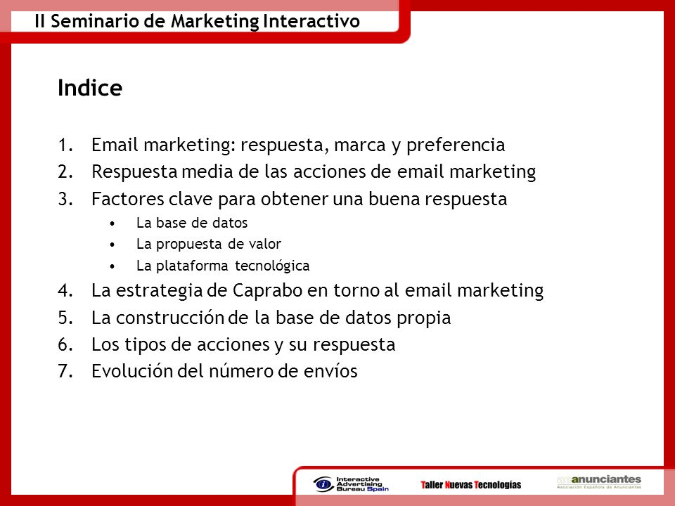 Indice Email marketing: respuesta, marca y preferencia