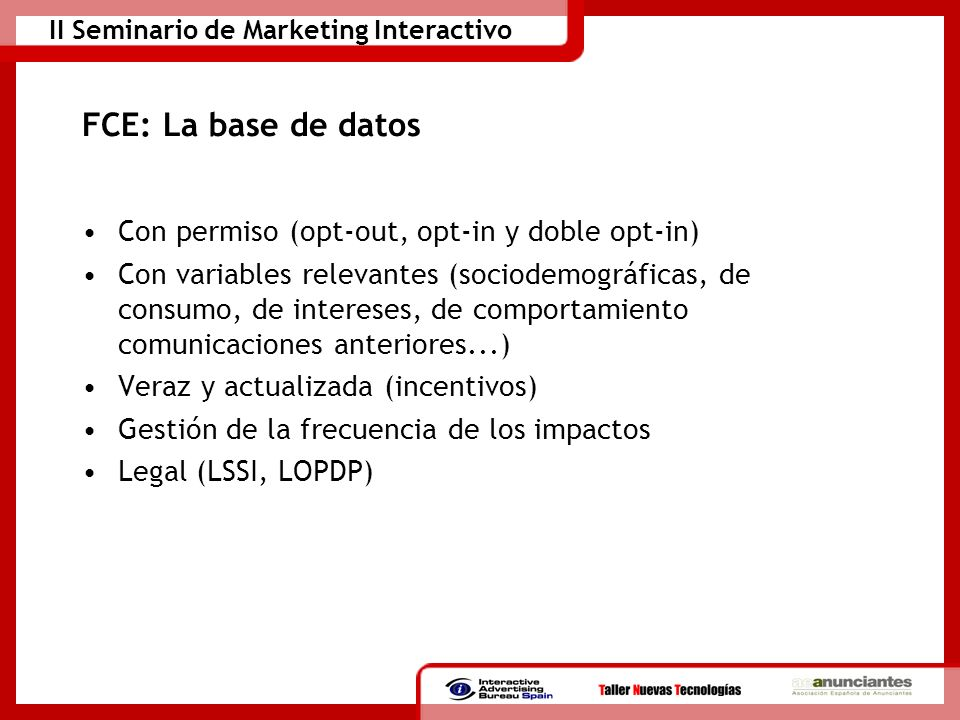 FCE: La base de datos Con permiso (opt-out, opt-in y doble opt-in)