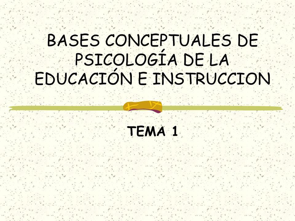 BASES CONCEPTUALES DE PSICOLOGÍA DE LA EDUCACIÓN E INSTRUCCION