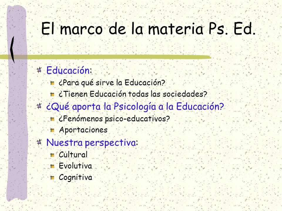 El marco de la materia Ps. Ed.
