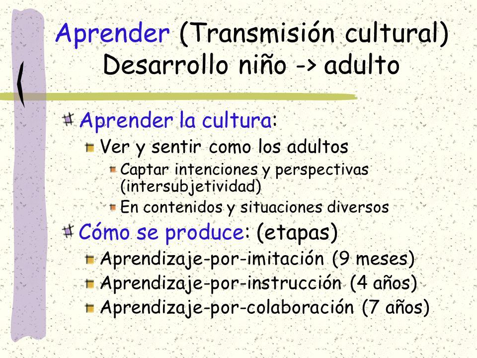 Aprender (Transmisión cultural) Desarrollo niño -> adulto
