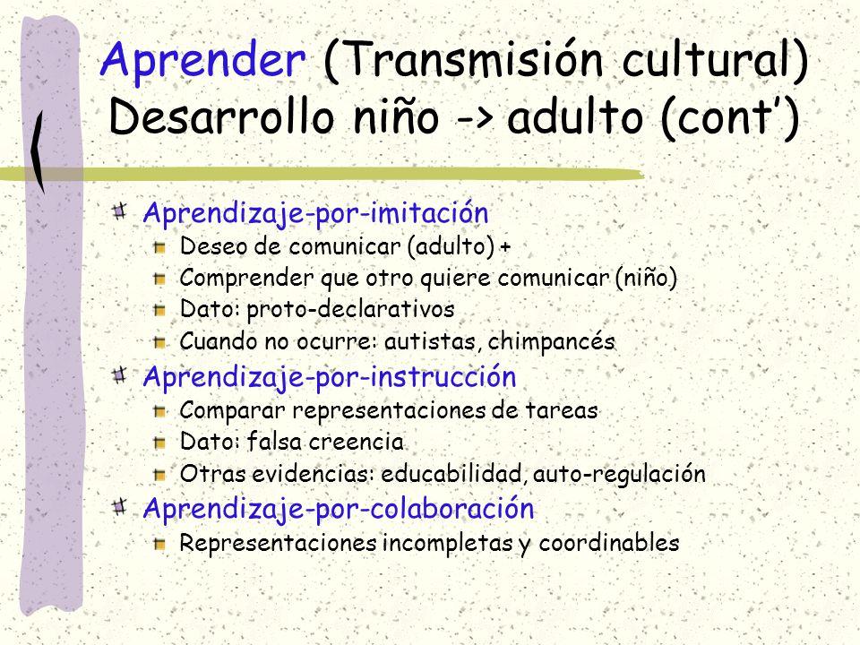 Aprender (Transmisión cultural) Desarrollo niño -> adulto (cont')