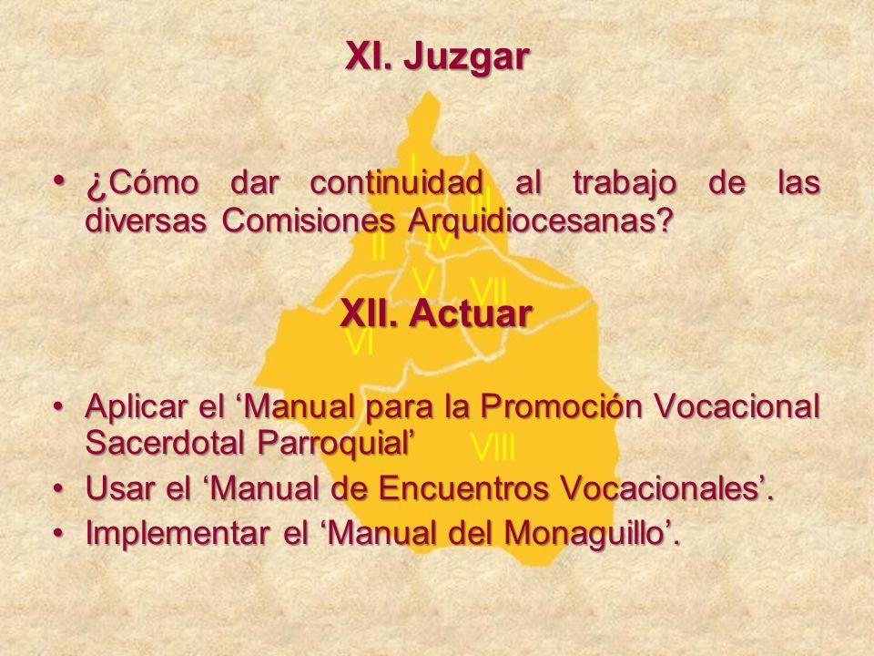 XI. Juzgar ¿Cómo dar continuidad al trabajo de las diversas Comisiones Arquidiocesanas XII. Actuar.
