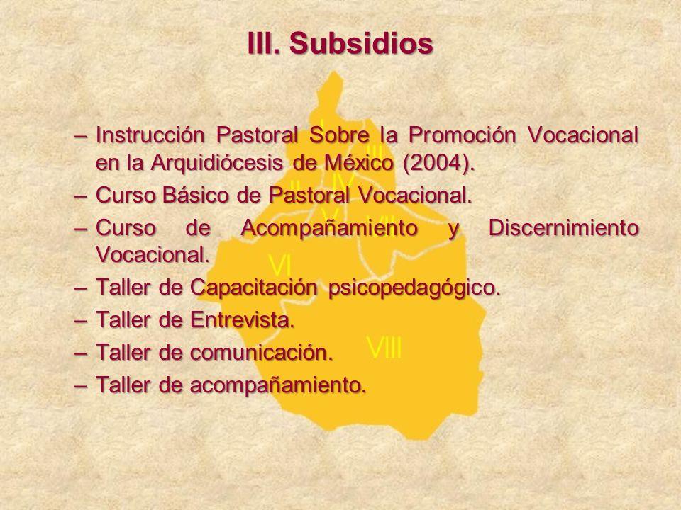 III. Subsidios Instrucción Pastoral Sobre la Promoción Vocacional en la Arquidiócesis de México (2004).