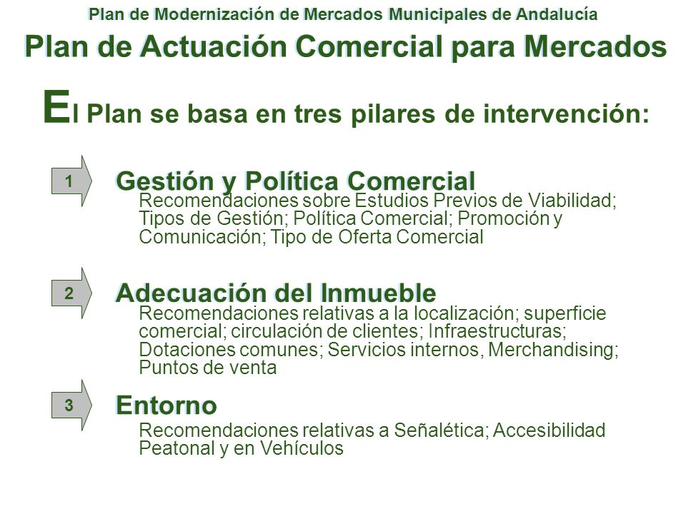 El Plan se basa en tres pilares de intervención:
