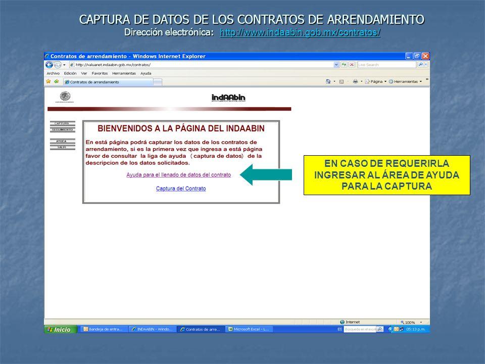 EN CASO DE REQUERIRLA INGRESAR AL ÁREA DE AYUDA PARA LA CAPTURA