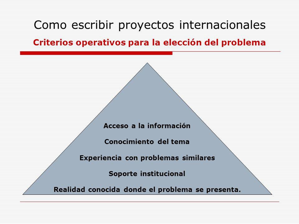 Como escribir proyectos internacionales Criterios operativos para la elección del problema