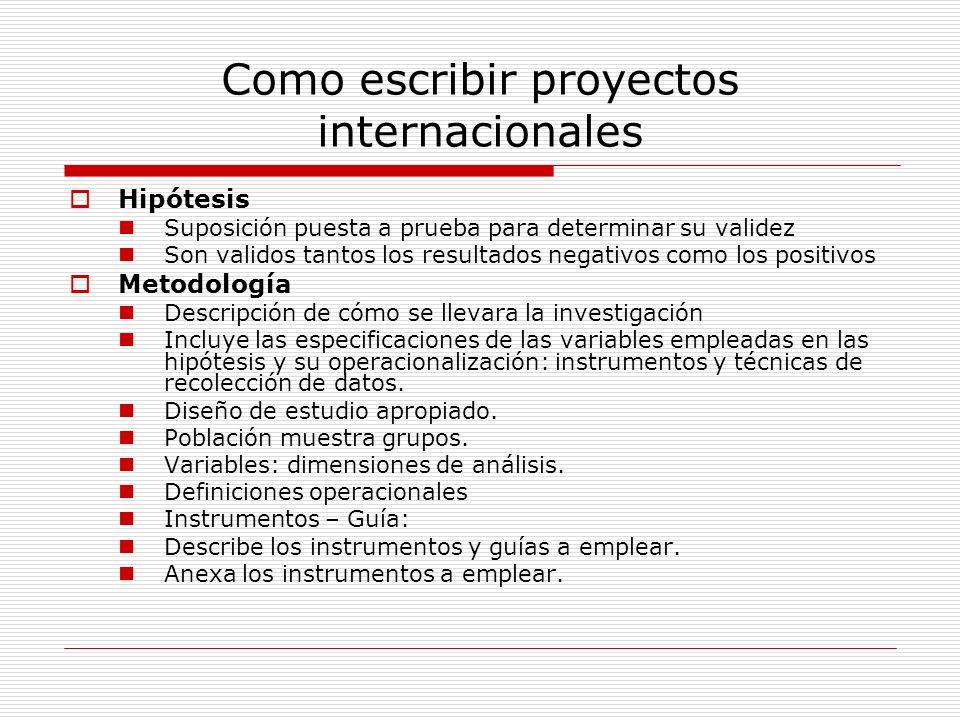 Como escribir proyectos internacionales