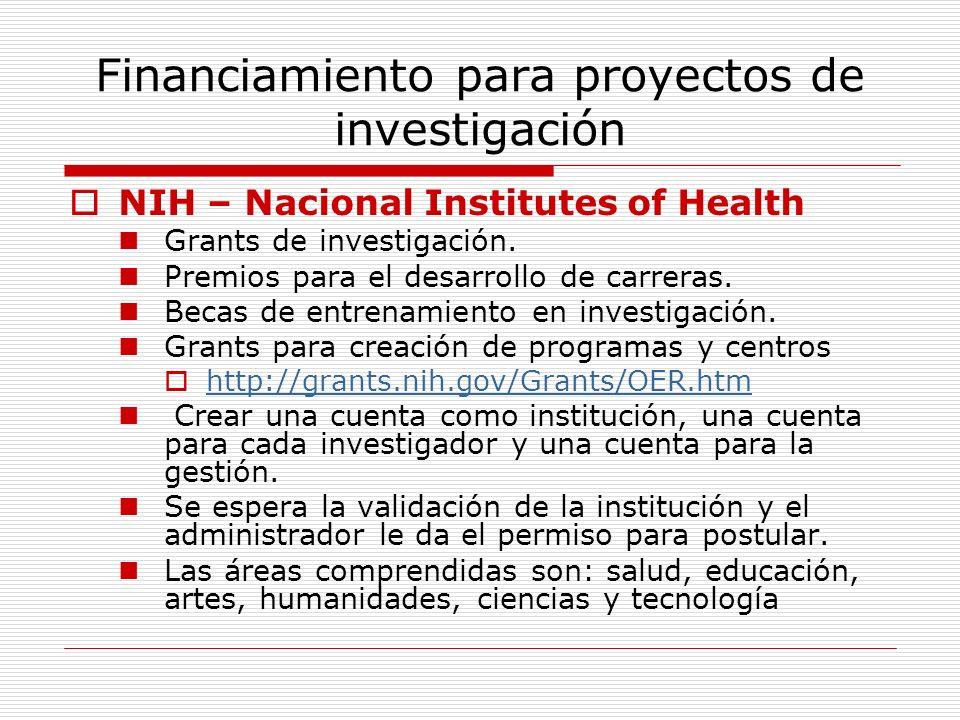 Financiamiento para proyectos de investigación