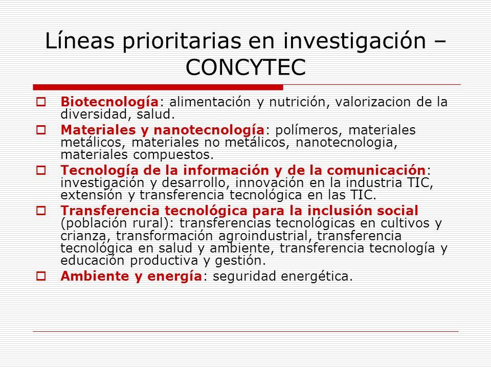 Líneas prioritarias en investigación – CONCYTEC