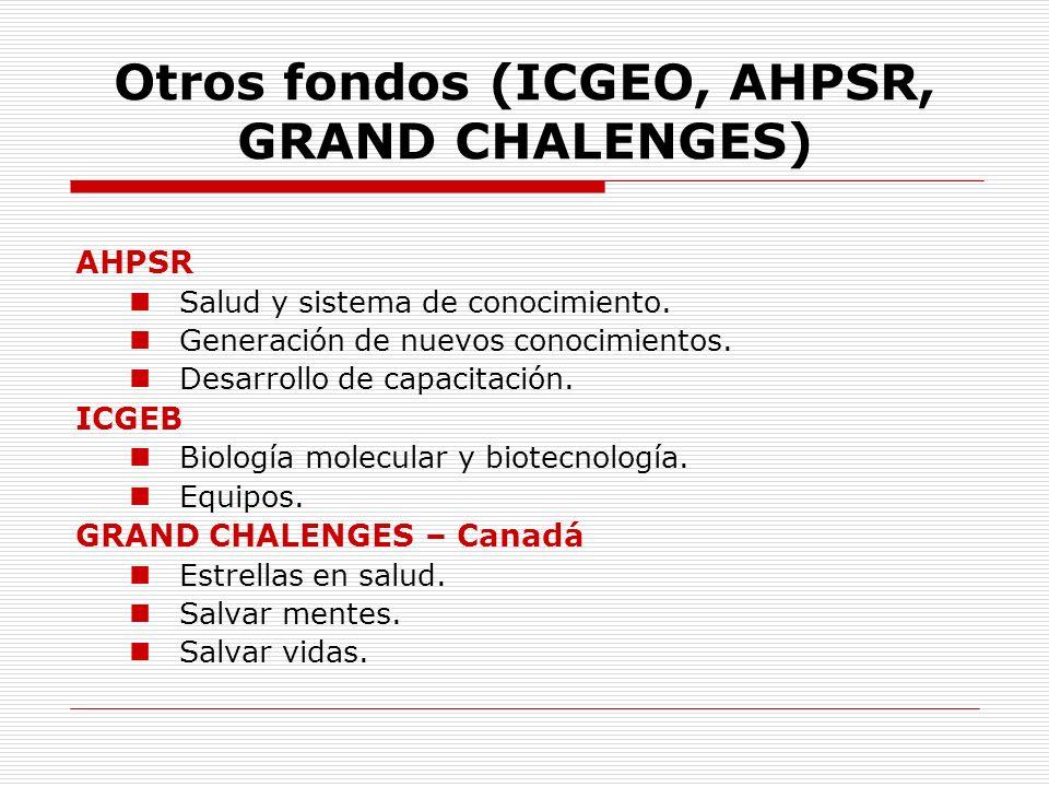 Otros fondos (ICGEO, AHPSR, GRAND CHALENGES)