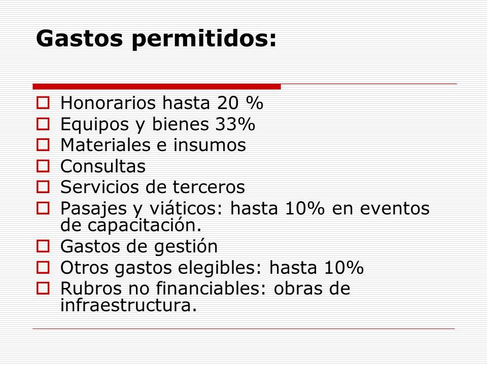 Gastos permitidos: Honorarios hasta 20 % Equipos y bienes 33%