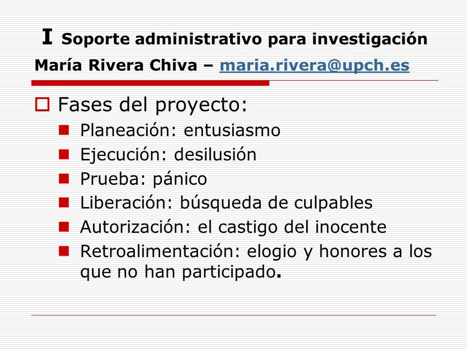 I Soporte administrativo para investigación María Rivera Chiva – maria