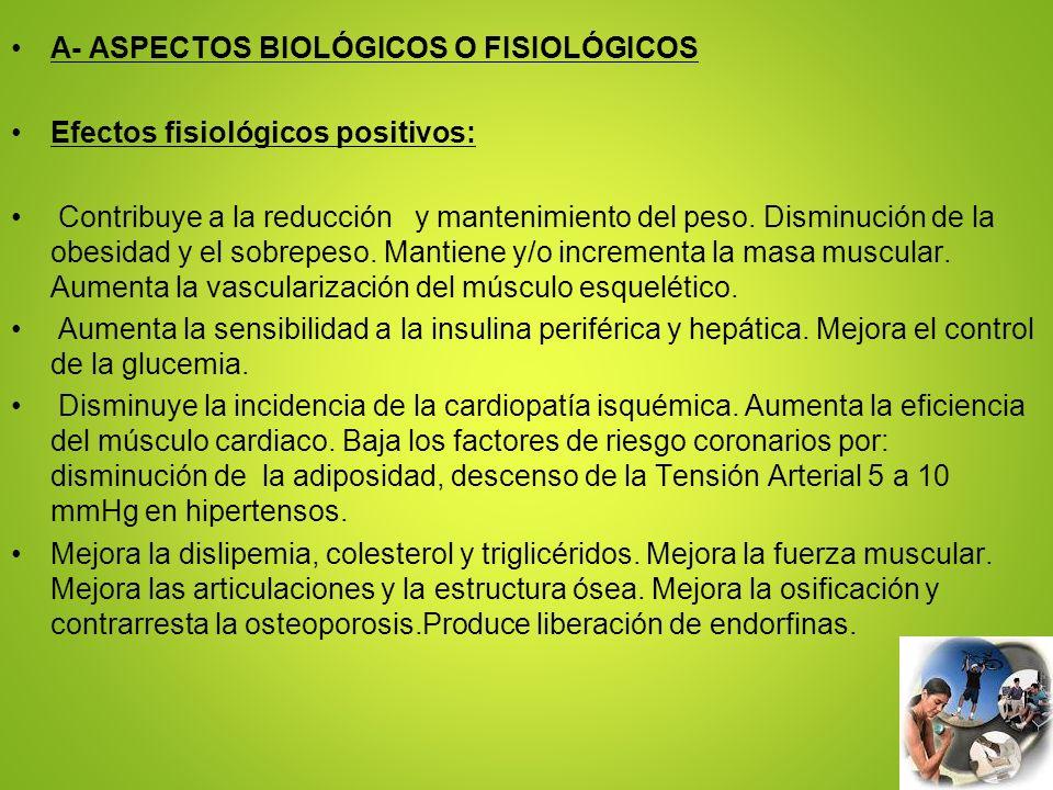 A- ASPECTOS BIOLÓGICOS O FISIOLÓGICOS