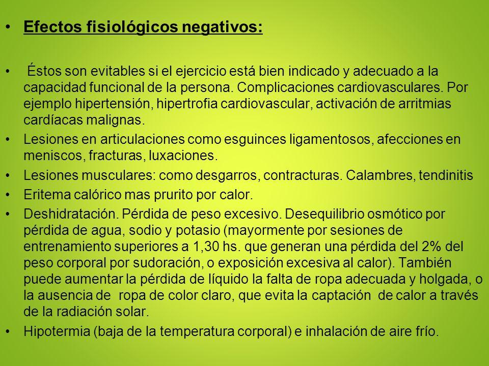 Efectos fisiológicos negativos:
