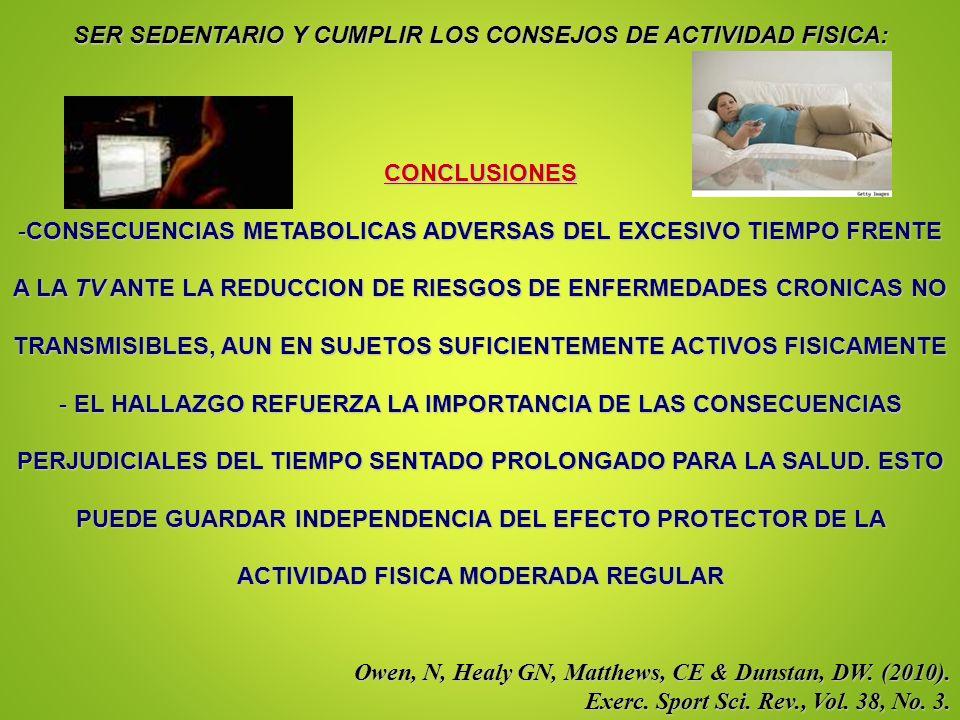 SER SEDENTARIO Y CUMPLIR LOS CONSEJOS DE ACTIVIDAD FISICA: