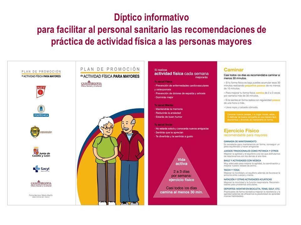 para facilitar al personal sanitario las recomendaciones de
