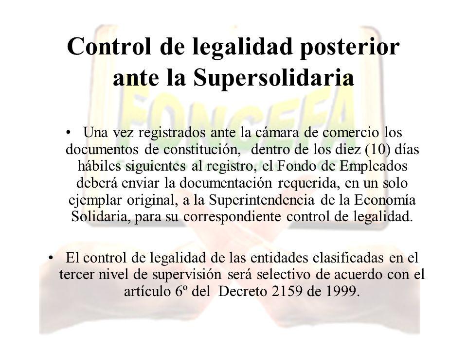Control de legalidad posterior ante la Supersolidaria