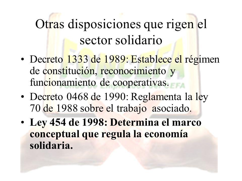Otras disposiciones que rigen el sector solidario