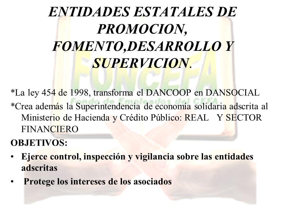 ENTIDADES ESTATALES DE PROMOCION, FOMENTO,DESARROLLO Y SUPERVICION.