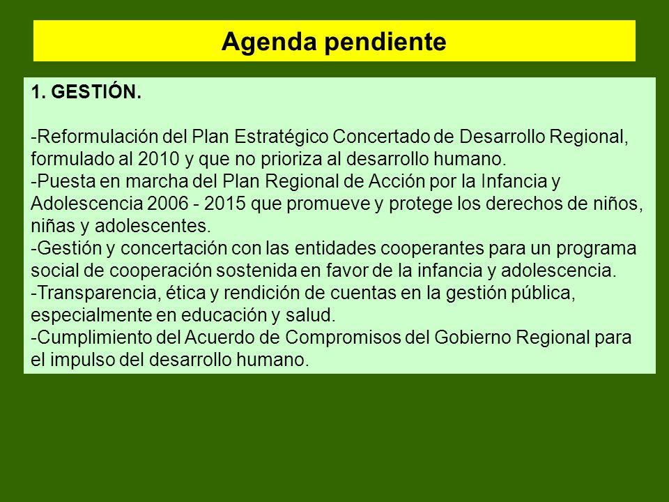 Agenda pendiente 1. GESTIÓN.