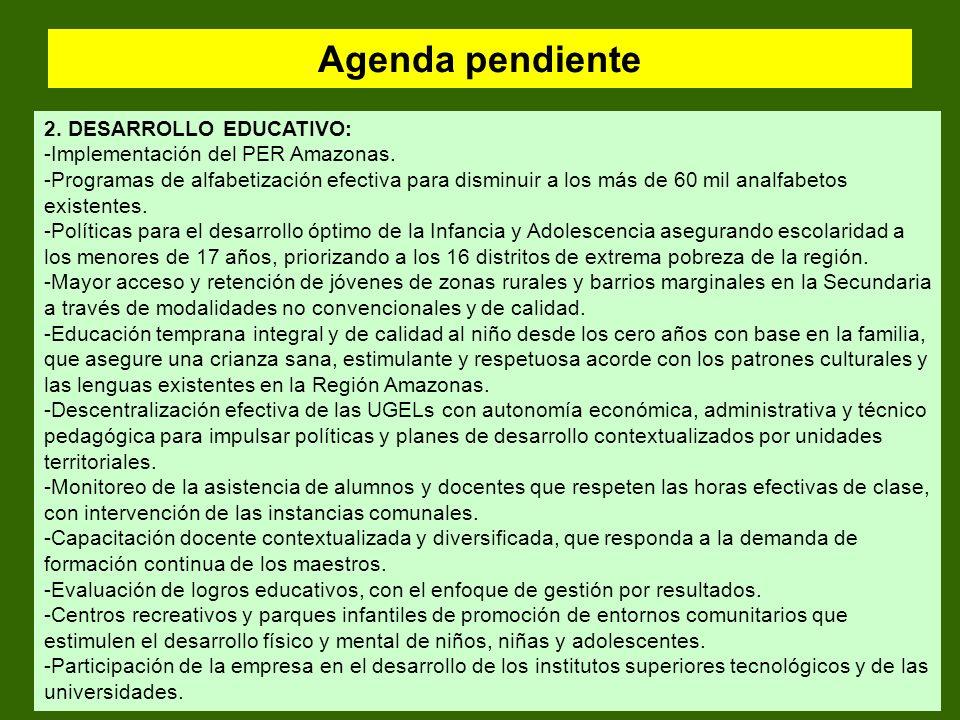 Agenda pendiente 2. DESARROLLO EDUCATIVO: