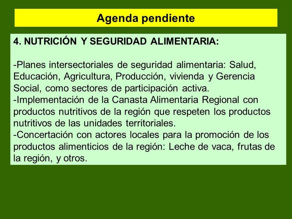 Agenda pendiente 4. NUTRICIÓN Y SEGURIDAD ALIMENTARIA: