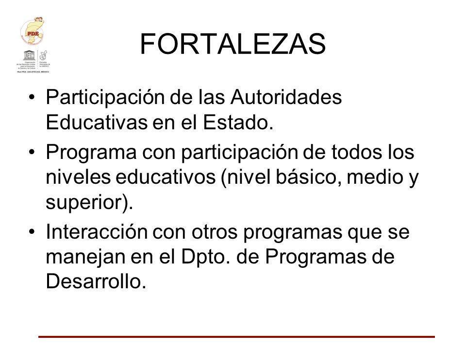FORTALEZAS Participación de las Autoridades Educativas en el Estado.