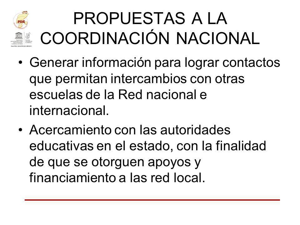 PROPUESTAS A LA COORDINACIÓN NACIONAL