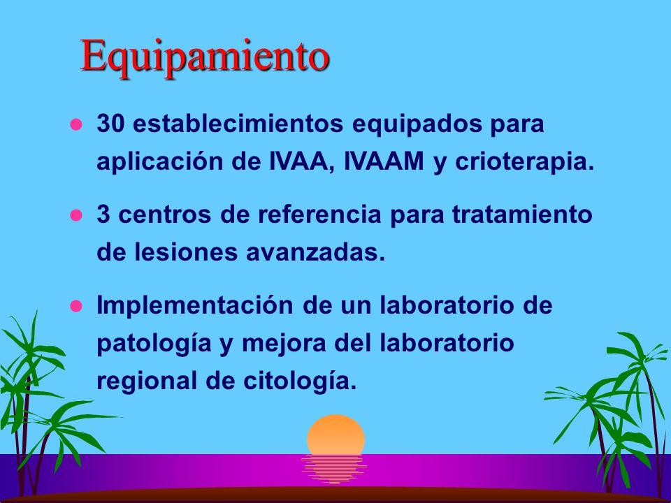 Equipamiento 30 establecimientos equipados para aplicación de IVAA, IVAAM y crioterapia.