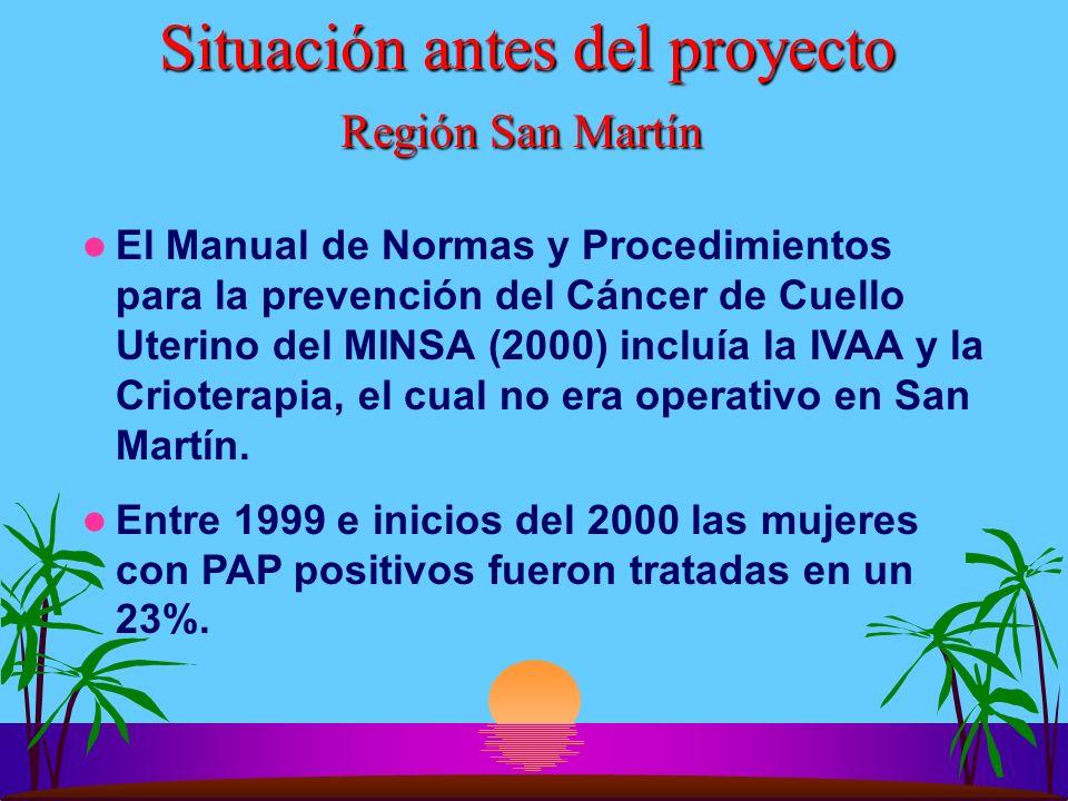 Situación antes del proyecto Región San Martín