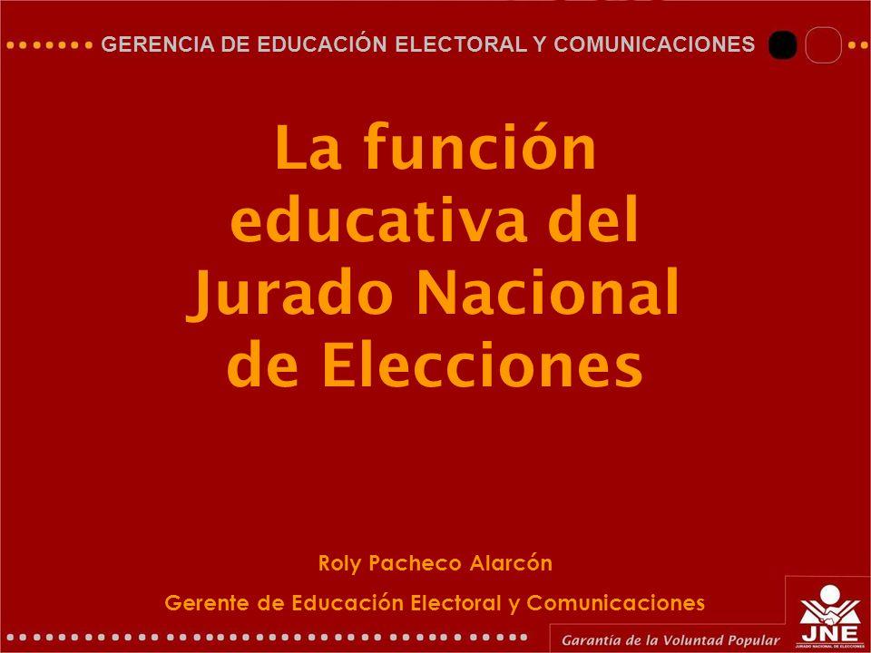 La función educativa del Jurado Nacional de Elecciones