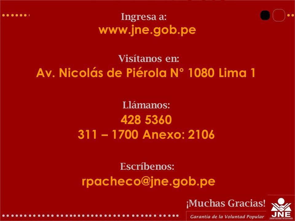 Av. Nicolás de Piérola N° 1080 Lima 1
