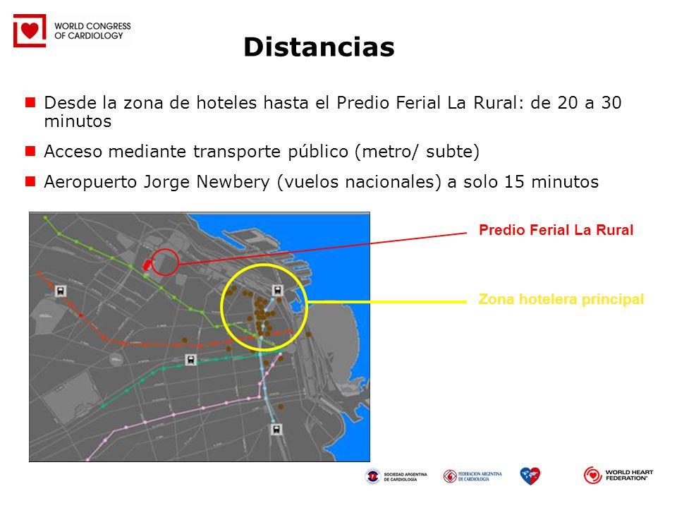 Distancias Desde la zona de hoteles hasta el Predio Ferial La Rural: de 20 a 30 minutos. Acceso mediante transporte público (metro/ subte)