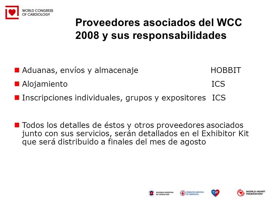Proveedores asociados del WCC 2008 y sus responsabilidades