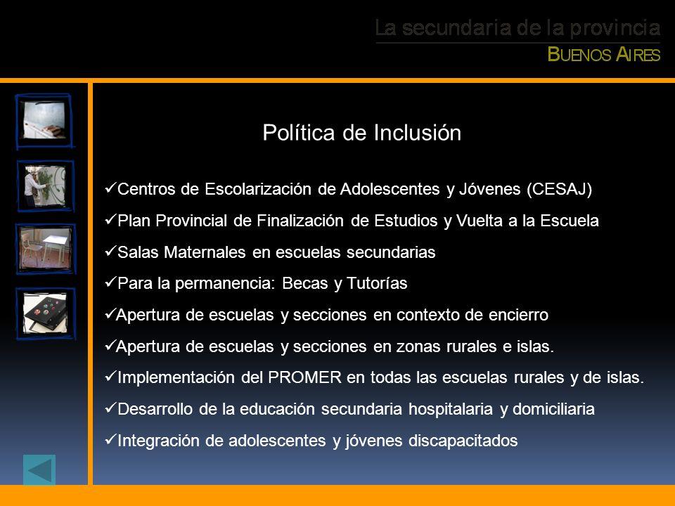 Política de Inclusión Centros de Escolarización de Adolescentes y Jóvenes (CESAJ) Plan Provincial de Finalización de Estudios y Vuelta a la Escuela.