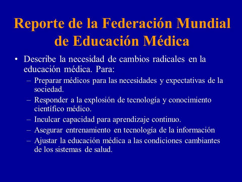 Reporte de la Federación Mundial de Educación Médica