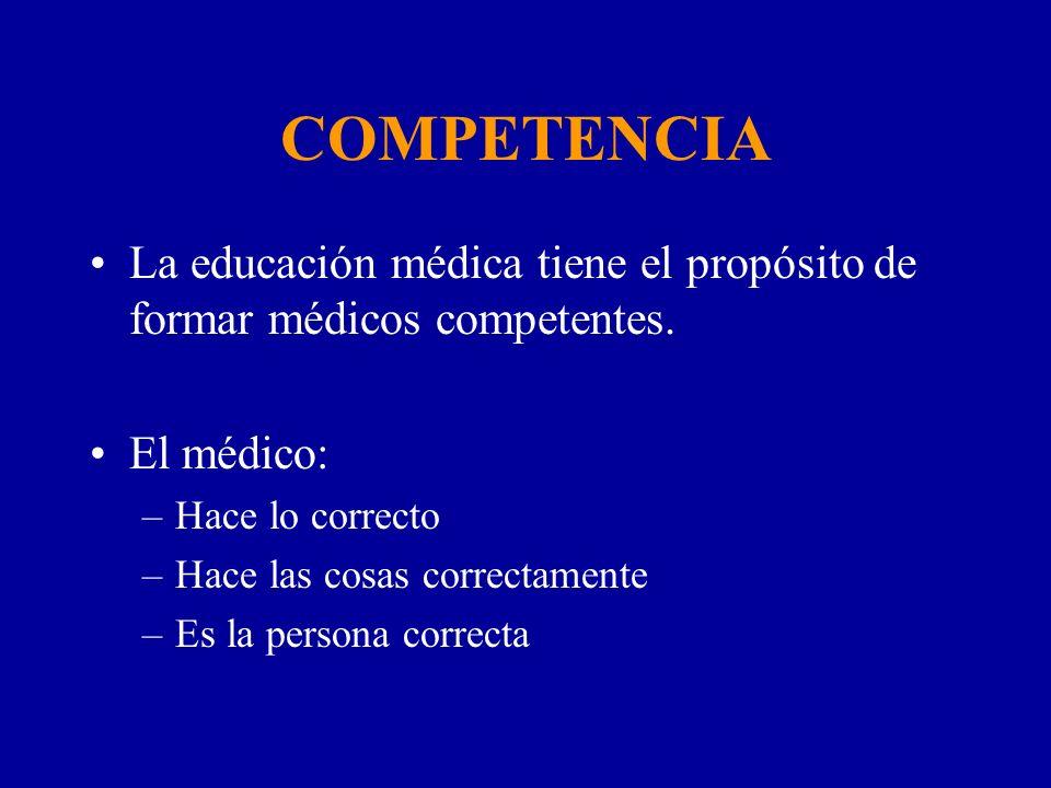 COMPETENCIA La educación médica tiene el propósito de formar médicos competentes. El médico: Hace lo correcto.