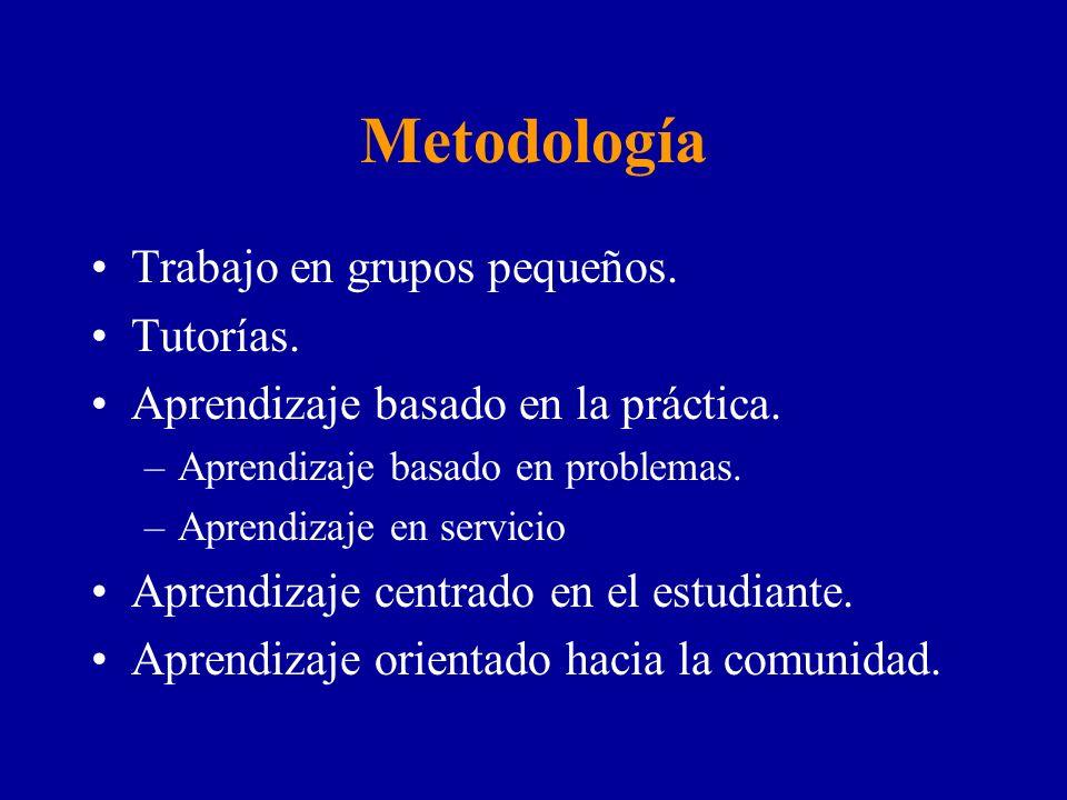 Metodología Trabajo en grupos pequeños. Tutorías.
